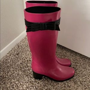 Kate Spade pink bow rain boots